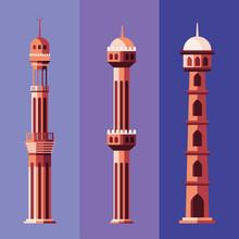 Muslim Mosque Towers