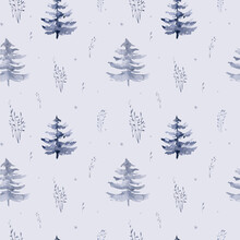 Watercolor Winter Pattern Deer With Fawn, Owl Rabbits, Bear Birds On White Background. Wild Forest Fox And Squirrel Animals Set. Hand Painted Winter Illustration
