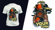 T-shirt Design With A Gentleman Gorilla Is Simply Amazing. Sport Uniform, T-shirt Activewear Template, Colorful. T-shirt Print Or Tattoo With A Gentleman Gorilla.