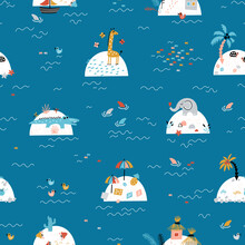 Cute Sea And Islands With African Animals, Houses, Tropical Beaches, Palm Trees. Summer Seamless Pattern For Children. Colorful Background For Kids. Baby Blue Wallpaper.