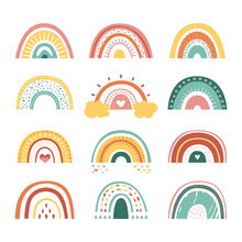 Scandinavian Rainbows. Color Rainbow Stripes, Different Abstract Kids Art. Modern Nursery Baby Stickers, Cute Boho Simple Classy Vector Elements