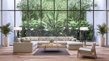 Modern Living Room With Tropical Style Garden Background 3d Render, There Are Wooden Floor Decorate With White Fabric Large Sofa Set