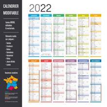 Calendrier 2022 Modifiable - Eléments Isolés Sur Calques, Textes En Arial, éditables Et Vectorisés.
