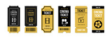 Cinema Tickets. Movie Theater Coupon. Tickets To Concert And Festival Event. Circus Show, Raffle Paper Voucher Vector Set