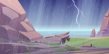 Storm On Ocean Rocky Shore, Rain Shower Lightning