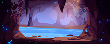 Underground Cave With Water And Blue Crystals
