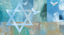 Graphic Abstract Star Of David  Background With Three Doves