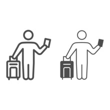Passenger With Suitcase And Passport Line And Solid Icon, Security Check Concept, Bag Check In Vector Sign On White Background, Outline Style Icon For Mobile Concept And Web Design. Vector Graphics.
