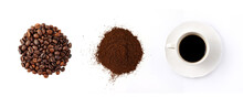 Coffee Bean, Ground Coffee And A Cup Of Hot Coffee On White Background