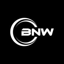 BNW Letter Logo Design With Black Background In Illustrator, Vector Logo Modern Alphabet Font Overlap Style. Calligraphy Designs For Logo, Poster, Invitation, Etc.