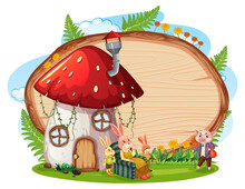 Blank Wooden Board In The Garden With Mushroom House Isolated