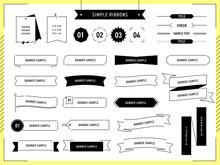 シンプル、線画、フレーム、枠、リボン、バナー、イラスト、デザイン、セット