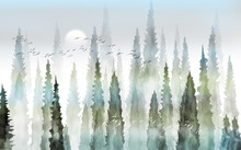Foggy Forest With Tall Trees Full Moon And Flocks Of Birds