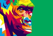 Gorilla. Gorilla Illustration In Modern Pop Art Style. Suitable For Screen Printing T-shirts, Wall Decorations, Book Covers Etc, EPS Files