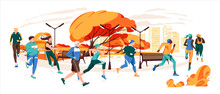 Men And Women Dressed In Sportswear Jogging Or Running Through Autumn Park. Sports Competition, Outdoor Workout Or Exercise, Athletics.Flat Cartoon Colorful Vector Illustration