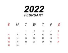 Template Of Calendar 2022 February