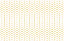 Golden Hexagon Bee Hive Honeycomb Pattern Seamless With White Background Vector