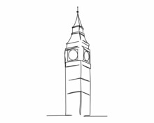 Continuous One Line Drawing Of Big Ben Icon In Silhouette On A White Background. Linear Stylized.