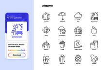 Autumn Thin Line Icons Set. Maple, Mushrooms, Oak Leaves, Apple, Pumpkin, Umbrella, Rain, Candles, Acorn, Rubber Boots, Raincoat, Pinecone, Squirrel. Modern Vector Illustration.