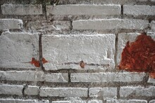 White Brick Wall Texture. Photo Background. Decayed White Wall.