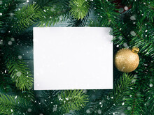 Christmas New Year Background With White Card Green Branches Frame
