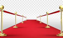 VIP Red Carpet And Golden Barriers Realistic 3d Vector Illustration