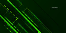 Black And Green Glossy Stripes Abstract Tech Corporate Background. Vector Wide Banner Design. 3d Modern Dark Blue Overlap Abstract Background With Shiny Lines Layers. Texture With Light Green