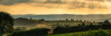 Panorama Of Torquay Fields In The Rays Of The Setting Sun, Devon, England, Europe
