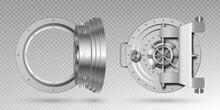 Round Steel Bank Vault Doors On Transparent Background. Vector Realistic