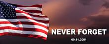 American Flag Against A Cloudy Sky With A Rainbow