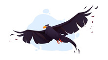 Crow With Black Wings Fly In Blue Sky. Vector Cartoon Illustration Of Flying Wild Raven, Bird With Black Feathers And Orange Beak In Flight Isolated On White Background