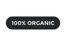100% Organic Text Label Banner Template. Square Shape Icon. White Color Text