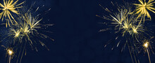 Happy New Year Party, Festive Background Banner Panorama Long- Golden Yellow Firework On Blue Night Texture, Withh Bokeh
