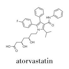 Atorvastatin Cholesterol Lowering Drug (statin Class) Molecule. Skeletal Formula.