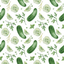 Watercolor Seamless Background With Cucumber On A White Background. Menu Design, Textile Design, Printing.