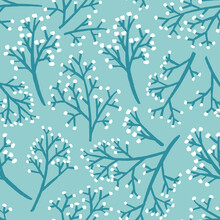 Wild Flowers Pattern In Teal Blue. Seamless Botanical Print Background Design. Vector Illustration. Surface Pattern Design. Great For Card Design, Kids, Clothing And Home Decor Projects.