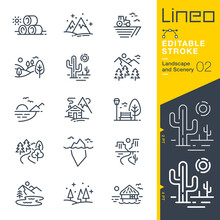 Lineo Editable Stroke - Landscape And Scenery Line Icons