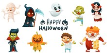 Halloween Characters With Jack O Lantern And Death With Scythe As Holiday Symbol Vector Set