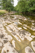 The Dry Riverbed Of The River Wharfe Near Kettlewell In The Yorkshire Dales, UK.