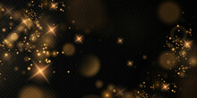 Bokeh Light Lights Effect Background. Christmas Background Of Shining Dust Christmas Glowing Bokeh Confetti And Spark Overlay Texture For Your Design.