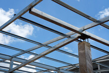 Connecting Steel Roof Trusses To Concrete Columns. Modern Style Steel Roof.