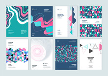 Set Of Brochure, Annual Report, Business Plan Cover Design Templates. Vector Illustrations For Business Presentation, Business Paper, Corporate Document, And Marketing Material.