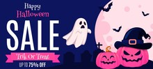Halloween Background With Pumpkin Sale Poster 75% Off Illustrations