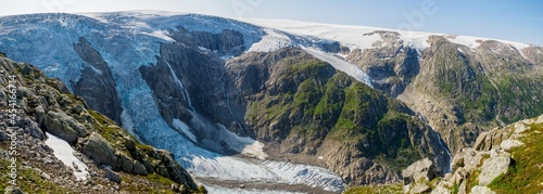 Fotografie, Obraz View to the Folgefonna Glacier from Reinanuten view point in Norway