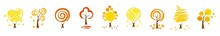 Yellow Autumn Trees. Colorful Garden Tree, Autumnal Garden Bush And Fall Season Tree Leaves. Autumn Trees, Set Of Vector Illustrations Of Cute Trees And Shrubs: Oak, Birch, Aspen.