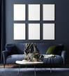 Leinwandbild Motiv Frame mockup in home interior, luxury modern dark living room , 3d render