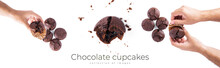 Chocolate Cupcakes With Cherry Jam Isolated On A White Background. Chocolate Muffin In Hand.