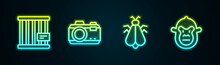Set Line Animal Cage, Photo Camera, Mosquito And Monkey. Glowing Neon Icon. Vector
