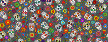 Day Of The Dead Sugar Skull Pattern. Dia De Los Muertos Print. Day Of The Dead And Mexican Halloween. Mexican Tradition  Festival Texture. Dia De Los Muertos Tattoo Skulls On Black Background.