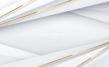 Abstract White Background With Paper Layers And Golden Stripes.